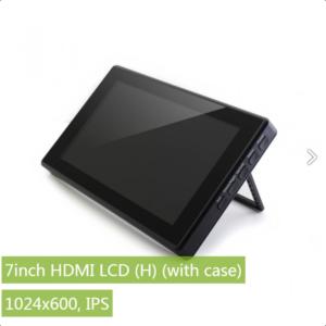 """Ekran 7 inča (H), HDMI, za Raspberry Pi (LCD displej 7""""), 1024×600, osetljiv na dodir, sa kućištem"""
