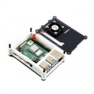 Kućište za Raspberry Pi 4, ventilator, hladnjaci, slojevi, crno-belo