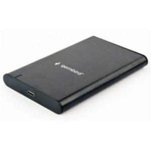 """USB 3.1 Eksterno kućište za 2.5"""" SATA hard disk, Type-C, brušeni aluminium, crno"""