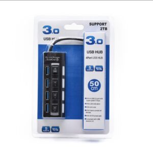 USB 3.0, 4-port HUB, crni