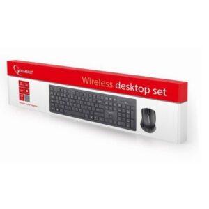 Bežična slim tastatura KBS-WCH-01, 2.4 GHz (US raspored), crna + miš