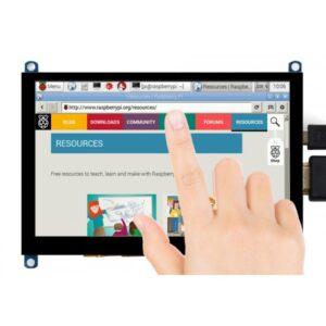Ekran 5 inča, za Raspberry Pi, LCD (H), HDMI, 800×480, osetljiv na dodir, sa ojačanim staklom